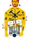 Typografische affiche voor de Vrijgezel van Hello van de mannetjespartij! met getatoeeerd lichaam van een mens Vector illustratie Stock Fotografie