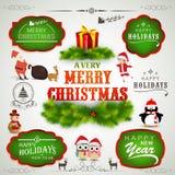 Typografische, Aufkleber- oder Aufklebersammlung für Weihnachten und neues Y Lizenzfreie Stockfotografie