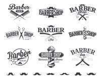 Typografische Barber Shop Emblems Lizenzfreies Stockbild