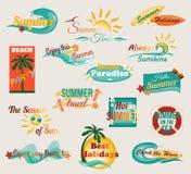 Typografische Elemente des Sommers für Design retro Stockbild
