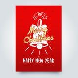 Typografische Embleme der frohen Weihnachten eingestellt Weihnachtslogo, -embleme, -elemente, -ikonen und -text entwerfen Stockfotos