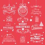 Typografische en kalligrafische inzameling voor Kerstmis en Nieuwe Ye Stock Foto