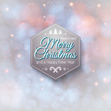 Typografische etiket Vrolijke Kerstmis en Gelukkig Nieuwjaar. Royalty-vrije Stock Foto