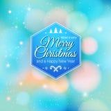 Typografische etiket Vrolijke Kerstmis en Gelukkig Nieuwjaar. Stock Fotografie