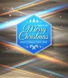 Typografische etiket Vrolijke Kerstmis en Gelukkig Nieuwjaar. Royalty-vrije Stock Afbeeldingen