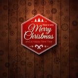 Typografische etiket Vrolijke Kerstmis en Gelukkig Nieuwjaar. Stock Foto's