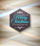 Typografische etiket Vrolijke Kerstmis en Gelukkig Nieuwjaar. Royalty-vrije Stock Afbeelding
