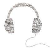 Typografische hoofdtelefoons Stock Afbeelding