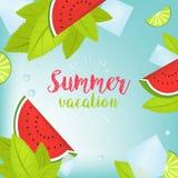 Typografische Illustration des Vektor-Sommerzeit-Feiertags Tropische Anlagen, Palme, Früchte, Blumen Wassermelone und Eis Stockfotografie