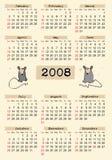 Typografische kalender 2008 Stock Afbeelding