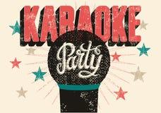 Typografische retro de partijaffiche van de grungekaraoke Vector illustratie Royalty-vrije Stock Afbeeldingen