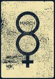 Typografische uitstekende de groetkaart van de grungestijl voor 8 Maart Retro vectorillustratie vector illustratie
