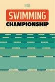 Typografische uitstekende stijlaffiche voor het Zwemmen Kampioenschap Retro vectorillustratie Stock Afbeelding