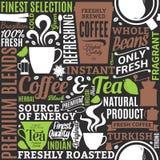 Typografische vectorkoffie en thee naadloze patroon of achtergrond vector illustratie