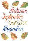 Typografischer Satz Jahreszeit Herbstlaubmonatsseptembers Oktober November Stockfoto