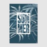Typografischer Sommerhintergrund mit Palmen in der Schmutzart stock abbildung