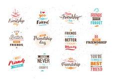 Typografisches Design des glücklichen Freundschaftstagesvektors lizenzfreie abbildung