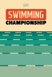 Typografisches Weinleseartplakat für schwimmende Meisterschaft Retro- vektorabbildung stock abbildung