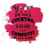 Typografisk bakgrund för citationstecken om alkohol och coctailar Arkivfoton