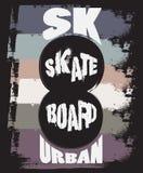 Typografisk bakgrund för citationstecken om skateboarden Arkivfoto