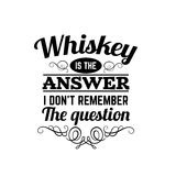Typografisk bakgrund för vektorcitationstecken om whisky Fotografering för Bildbyråer