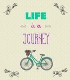 Typografisk bakgrund med Motivational citationstecken, liv är en jorney