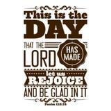 Typografisk bibel Denna är dagen som HERREN har gjort; låt oss jubla och vara glade i den vektor illustrationer