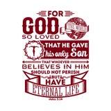 Typografisk bibel För guden som älskades så världen, det gav han, hans endast son, som vem som helsttroar i honom inte bör förgås vektor illustrationer