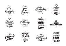 Typografisk design för lycklig kamratskapdagvektor Arkivbilder