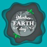 Typografisk emblem för moderjorddag på jordplaneten med gröna sidor Begreppet för jorddagen med abstrakt begrepp vinkar bakgrund royaltyfri illustrationer