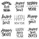 Typografisk emblemuppsättning för lyckligt nytt år 2019 royaltyfri illustrationer