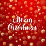 Typografisk etikett för jul för Xmas-feriedesign på röd suddig bakgrund med Bokeh och ljusa effekter vektor Arkivbild