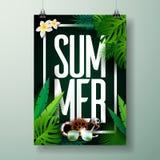 Typografisk illustration för vektorsommarTid ferie på palmbladbakgrund Tropiska växter och blommor royaltyfri illustrationer