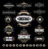 Typografisk jul och Calligraphic tappningetiketter, royaltyfri illustrationer