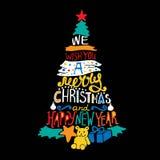 Typografisk jul och träd för nytt år, gåvor Glad XMas-bokstäver Royaltyfria Bilder