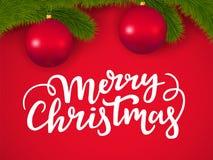 Typografisk julkort med filialer för lyckönskantextbokstäver och för nytt år trädmed exponeringsglasbollar på en röd bakgrund stock illustrationer