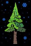 typografisk jultree royaltyfri illustrationer