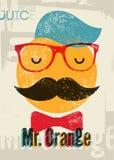 Typografisk retro affisch för orange fruktsaft för grunge Rolig hipsterteckenherr Apelsin också vektor för coreldrawillustration  Royaltyfri Foto