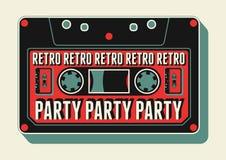 Typografisk Retro partiaffischdesign med en ljudkassett Tappningvektorillustration Royaltyfri Fotografi