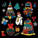 Typografisk tryckbar jul och träd för nytt år, jultomten, boll, påse, gåvor Royaltyfri Bild