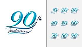 Typografisk uppsättning av årsdagen som är calligraphic och Färgrikt annive royaltyfri illustrationer