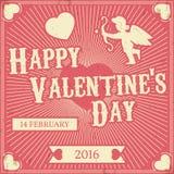 Typografisk valentin Retro bakgrund för dag Tappningvektordes Royaltyfri Bild