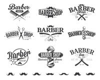 Typografiska Barber Shop Emblems Royaltyfri Bild
