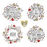 Typografiska samling eller ramar för lycklig mors dag Arkivfoto