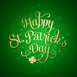 Typografiska Sts Patrick kort för daghälsning stock illustrationer