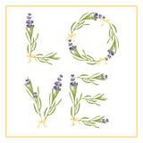 Typografislogan med förälskelse för lavendelblommatext för t-skjortaprinting, broderi, design grafisk och utskrivaven utslagsplat vektor illustrationer