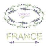 Typografislogan med lavendelblommatext Frankrike för t-skjortaprinting, broderi, design grafisk och utskrivaven utslagsplats stock illustrationer
