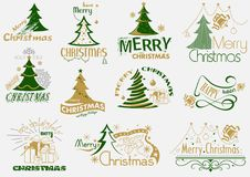 Typografiuppsättning för glad jul vektor illustrationer