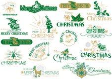 Typografiuppsättning för glad jul stock illustrationer
