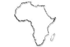 Typograhpy de kaart van Afrika Stock Fotografie